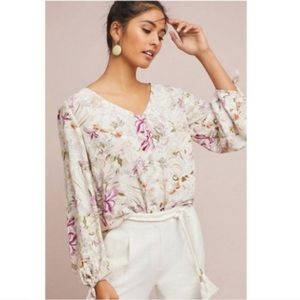 anthropologie | pernille floral tie blouse